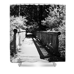 Shower Curtain featuring the photograph Bridge In Woods by Yulia Kazansky