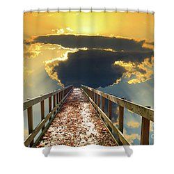 Bridge Into Sunset Shower Curtain
