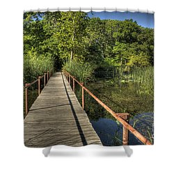 Shower Curtain featuring the photograph Bridge Into The Forest At Lake Murray by Tamyra Ayles