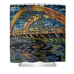 Shower Curtain featuring the painting Bridge On County Rd. 27 by Denny Morreale