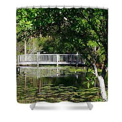 Shower Curtain featuring the photograph Bridge On Lilly Pond by Lori Mellen-Pagliaro