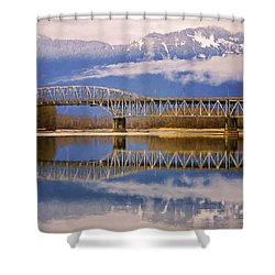 Shower Curtain featuring the photograph Bridge Over Calm Waters by Jordan Blackstone