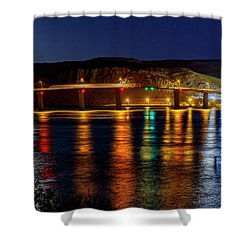 Shower Curtain featuring the photograph Bridge Over Columbia Waters by Cat Connor