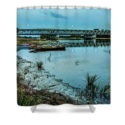 Bridge Over Serene River In Poland Shower Curtain