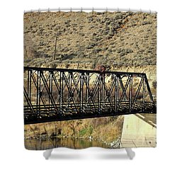 Shower Curtain featuring the photograph Bridge Over The Thompson by Ann E Robson