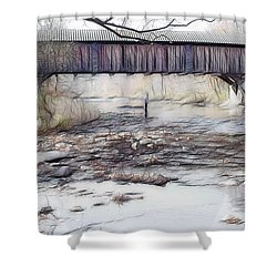 Shower Curtain featuring the photograph Bridge Over Troubled Waters by EricaMaxine  Price
