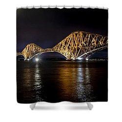 Bridge Over Water Lights. Shower Curtain