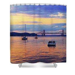 Bridge Sunset Shower Curtain