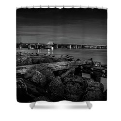 Shower Curtain featuring the photograph Bridge To Longboat Key In Bw by Doug Camara