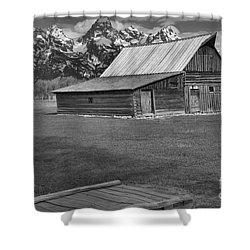Bridge To The Barn Black And White Shower Curtain by Adam Jewell