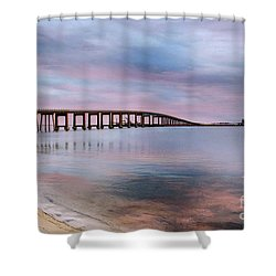 Bridge Under The Sunset Shower Curtain