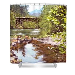 Bridge View Shower Curtain by Karen Ilari