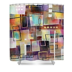 Shower Curtain featuring the painting Bridging Gaps 2 by Hailey E Herrera