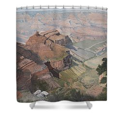 Bright Angel Trail Looking North To Plateau Point, Grand Canyon Shower Curtain