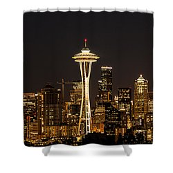 Bright At Night - Space Needle Shower Curtain