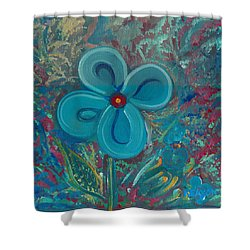 Shower Curtain featuring the painting Bright Blue by John Keaton