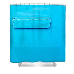 Shower Curtain featuring the photograph Bright Blue Paint On Metal With Postbox by John Williams
