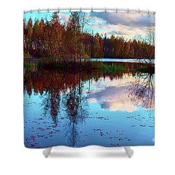 Bright Colors Of Autumn Reflected In The Still Waters Of A Beautiful Forest Lake Shower Curtain