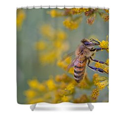 Bright Eyed Bee Shower Curtain