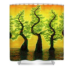 Bright Moss Hidden Bunnies Shower Curtain