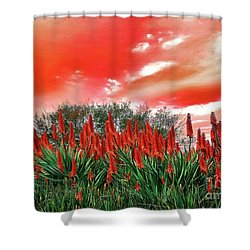 Shower Curtain featuring the photograph Bright Red Aloe Flowers By Kaye Menner by Kaye Menner