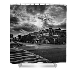 Bright Sun In Murphy North Carolina In Black And White Shower Curtain
