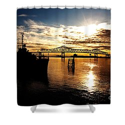 Bright Time On The River Shower Curtain by Scott Pellegrin