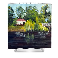 Bright Willows On The River Shower Curtain by Jim Phillips