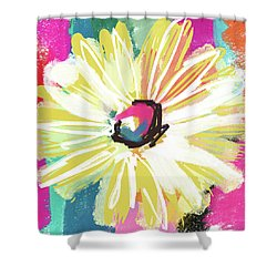 Bright Yellow Flower- Art By Linda Woods Shower Curtain by Linda Woods