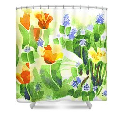 Brightly April Flowers Shower Curtain by Kip DeVore