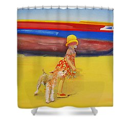 Brightly Painted Wooden Boats With Terrier And Friend Shower Curtain by Charles Stuart