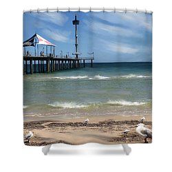 brighton Beach Shower Curtain by Anthony Christou