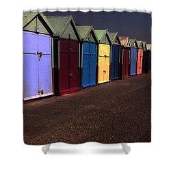 Brighton Beach Huts Shower Curtain
