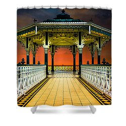 Shower Curtain featuring the photograph Brighton's Promenade Bandstand by Chris Lord
