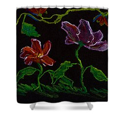 Brilliant Flowers On Black Hand Drawn Shower Curtain