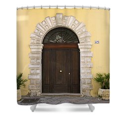Brindisi By The Sea Door Shower Curtain