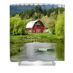 Brinnon Washington Barn By Pond Shower Curtain