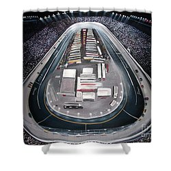 Shower Curtain featuring the painting Bristol Motor Speedway Racing The Way It Ought To Be by Patricia L Davidson