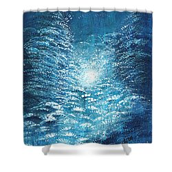 Shower Curtain featuring the painting Brite Nite by Holly Carmichael