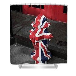 British Fire Hydrant Shower Curtain by Rae Tucker