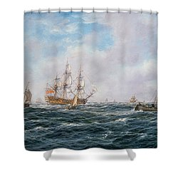 British Man-o-war And Other Craft Shower Curtain by Richard Willis