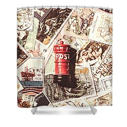 Shower Curtain featuring the photograph British Post Box by Jorgo Photography - Wall Art Gallery
