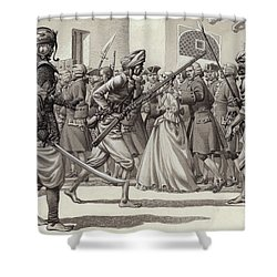 British Soldiers Are Forced Into The Black Hole Of Calcutta Shower Curtain