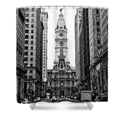 Broad Street At City Hall Shower Curtain by Bill Cannon