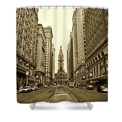 Broad Street Facing Philadelphia City Hall In Sepia Shower Curtain by Bill Cannon