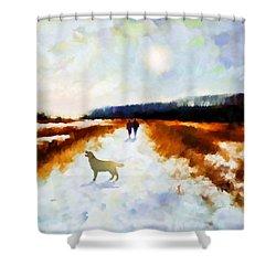 Broadland Walk Shower Curtain by Valerie Anne Kelly