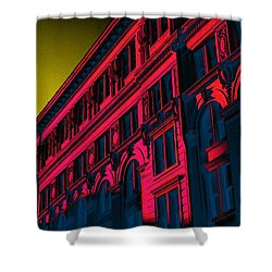 Broadway 118 In Fuschia Shower Curtain by Edgar Farrera