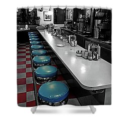 Broadway Diner Chairs Shower Curtain by Christopher McKenzie