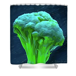 Broccoli 01 Shower Curtain by Wally Hampton