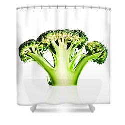 Broccoli Cutaway On White Shower Curtain by Johan Swanepoel